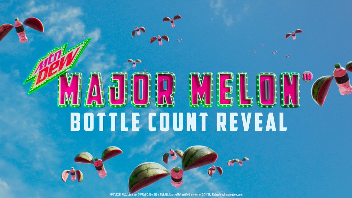 America, you did it! You counted lots and lots of #MTNDEWMAJORMELON bottles. Now, check out the full breakdown at  to see which bottles you didn't count. #ad