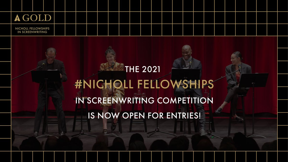 The 2021 #Nicholl Fellowships in Screenwriting competition is now officially open. Register and submit your screenplay here: