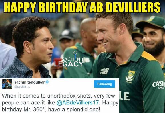 Wishing #mr360 @ABdeVilliers17 a very happy birthday #HappyBirthdayABD  #HappyBirthDayAbDeVilliers   -A post from @sachin_rt pakistani fan page