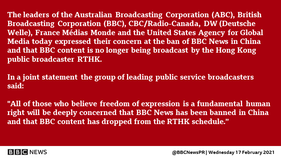 Statement from public service broadcasters on BBC News and China. https://t.co/OiDNTKhGvd