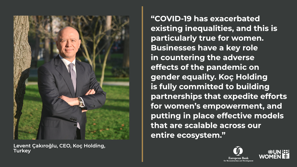 Levent Cakiroglu, CEO of one the of Turkey's largest conglomerates @kocholding, joined our roundtable discussion on including women in the #COVID19 recovery efforts.  He underlined the role of the private sector to boost women's economic empowerment. 👇  #HeForShe