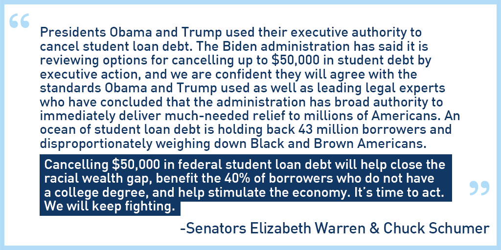 President Biden has the authority to cancel $50,000 of student loan debt. @SenSchumer and I are urging him to act. Here's our statement. #CancelStudentDebt
