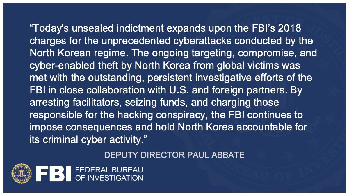 Three North Korean Military Hackers Indicted in Wide-Ranging Scheme to Commit Cyberattacks and Financial Crimes Across the Globe @FBILosAngeles ow.ly/AXPx50DCO1b