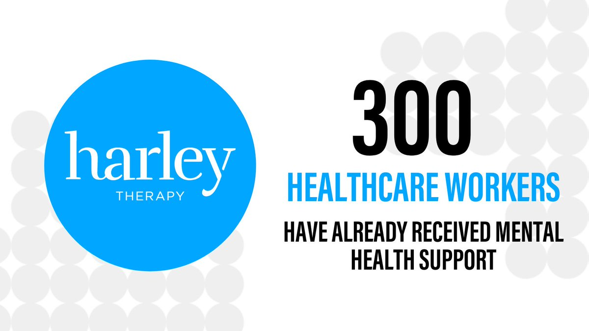 Thanks to the support of our wonderful partners @HarleyTherapy we've delivered mental health services to over 300 healthcare workers. We want to ensure all healthcare workers feel supported, both mentally and physically, so they can continue to protect us all.
