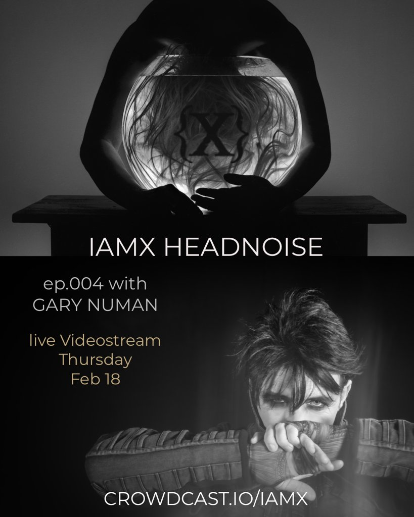 Tomorrow, music legend @numanofficial joins Chris and Janine for the IAMX Headnoise podcast to discuss his mental health experiences. Free to all to join ON Crowdcast. crowdcast.io/e/headnoise004 11am   2pm ET   7pm UK #mentalhealth #mentalhealthawareness #Headnoise #IAMX