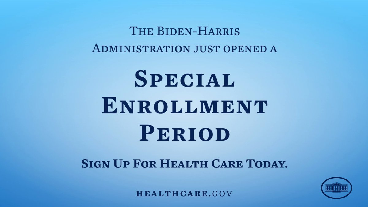 The Biden-Harris Administration opened a special enrollment period to ensure every American has the opportunity to sign up for health insurance. Head to HealthCare.gov to find the plan that works best for you.