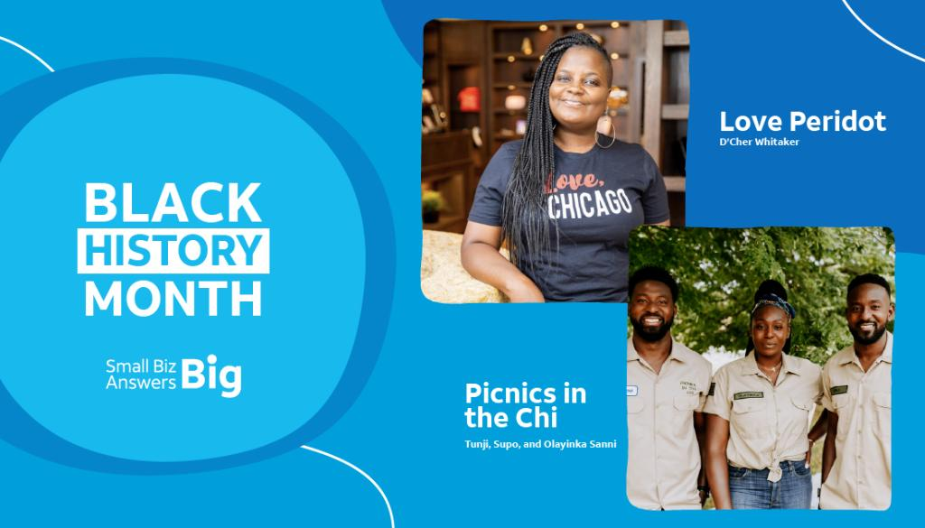 .@picnicsinthechi and @shoploveperidot are two inspiring Black-owned businesses from our #SmallBizAnswersBig community. We're so happy to honor them for #BlackHistoryMonth.  Let's keep supporting Black-owned #SmallBusinesses! 🖤