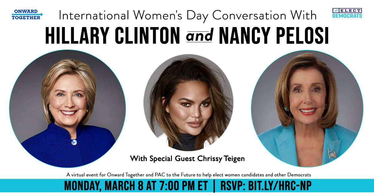 I can't think of better company for International Women's Day than @speakerpelosi and @chrissyteigen.   Become an @onwardtogether member and join us for our March 8 conversation to help elect more Democratic women to office.