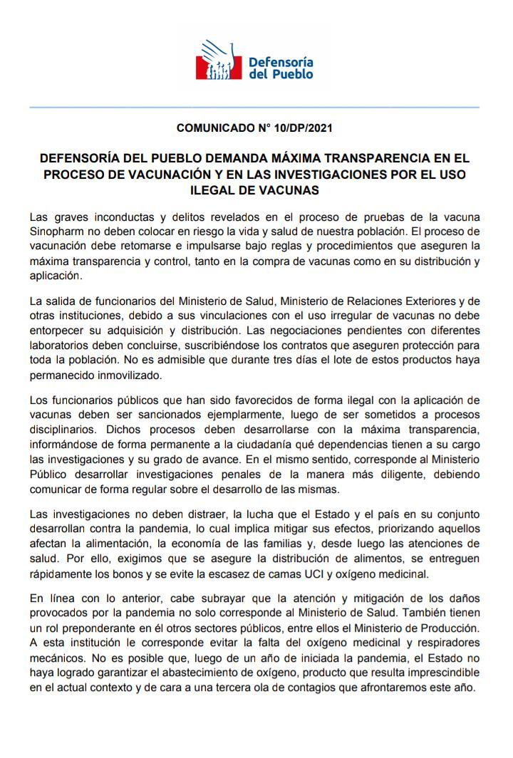 Link al comunicado de la Defensoría del Pueblo en formato PDF https://bit.ly/3psqhGV