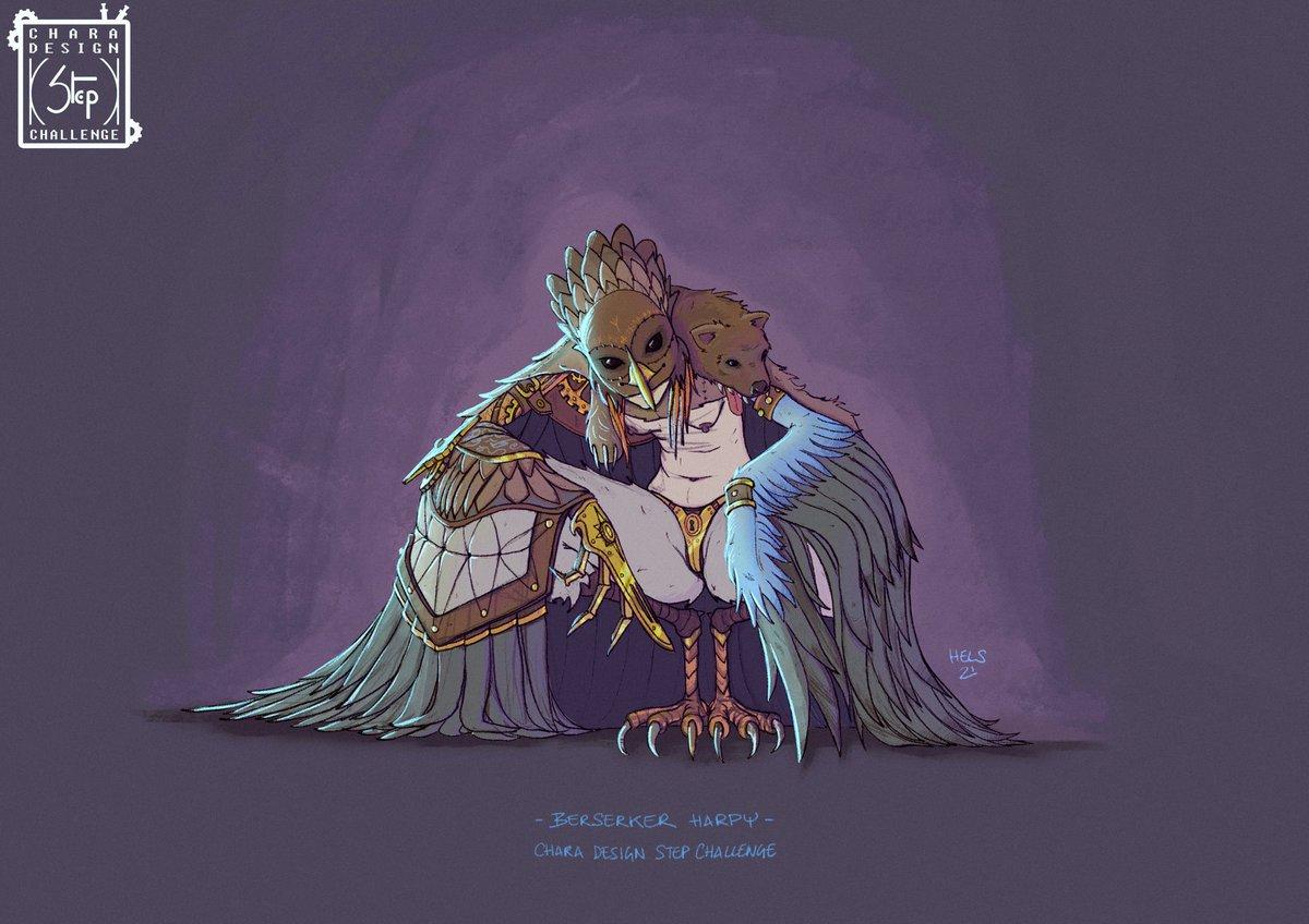 Way off my comfort zone 🥵 Berserker Steampunk Harpy @StephenCornu #charadesignstepchallenge #hels