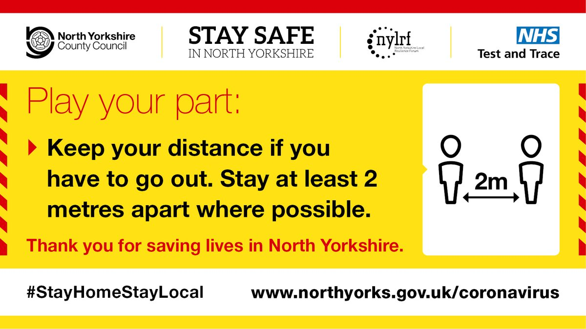 Thank you for keeping your distance from anyone you dont live with or arent in a support bubble with. We are all playing a part in helping to reduce the spread of #Covid19 to protect the NHS and save lives. Get #covid advice and information here ⬇️ northyorks.gov.uk/coronavirus-ad…