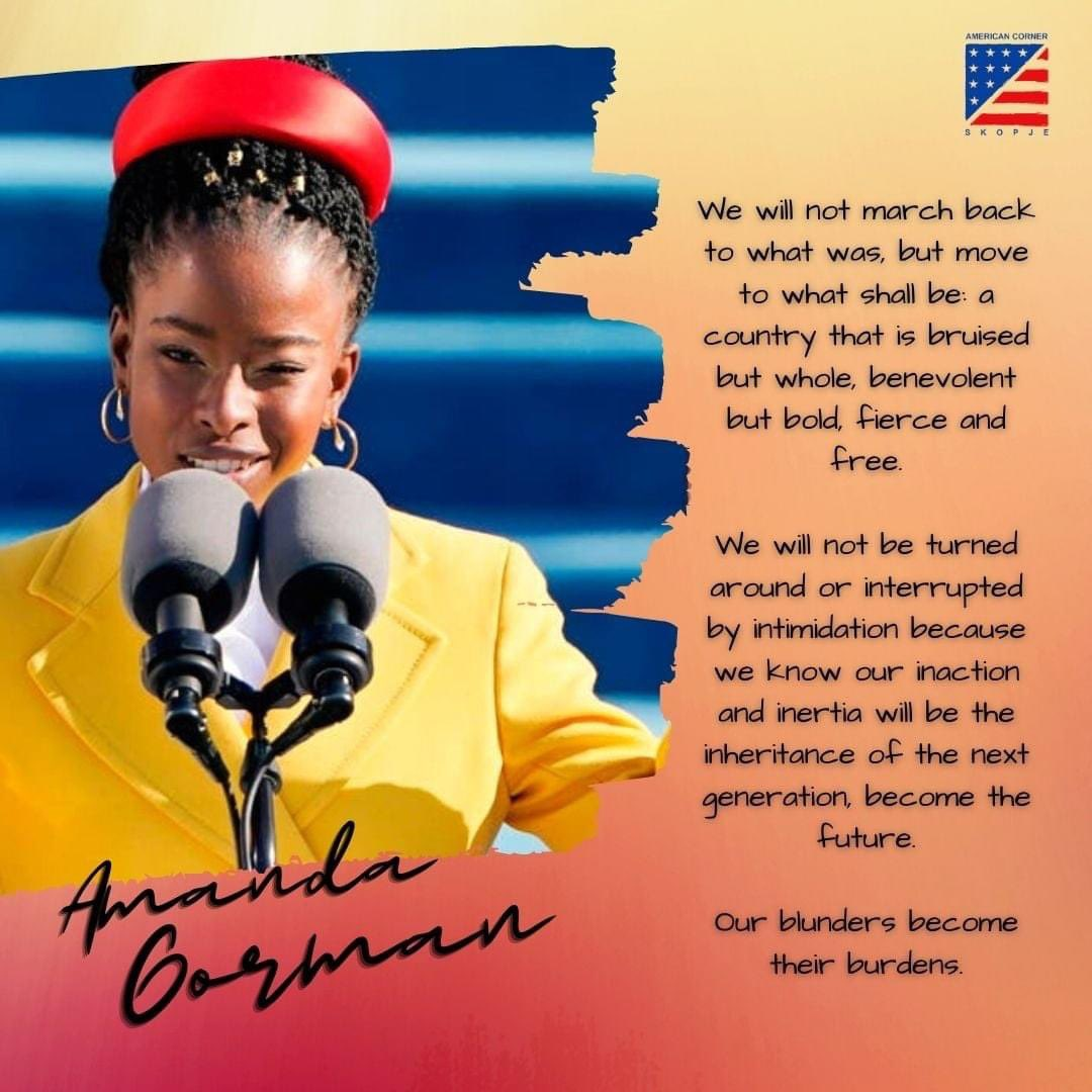 @DearAuntCrabby The BEST part of the #BidenHarrisInauguration 🥁 and the Best part of the Super Bowl 2021 🏈, was poet #AmandaGorman 👄.