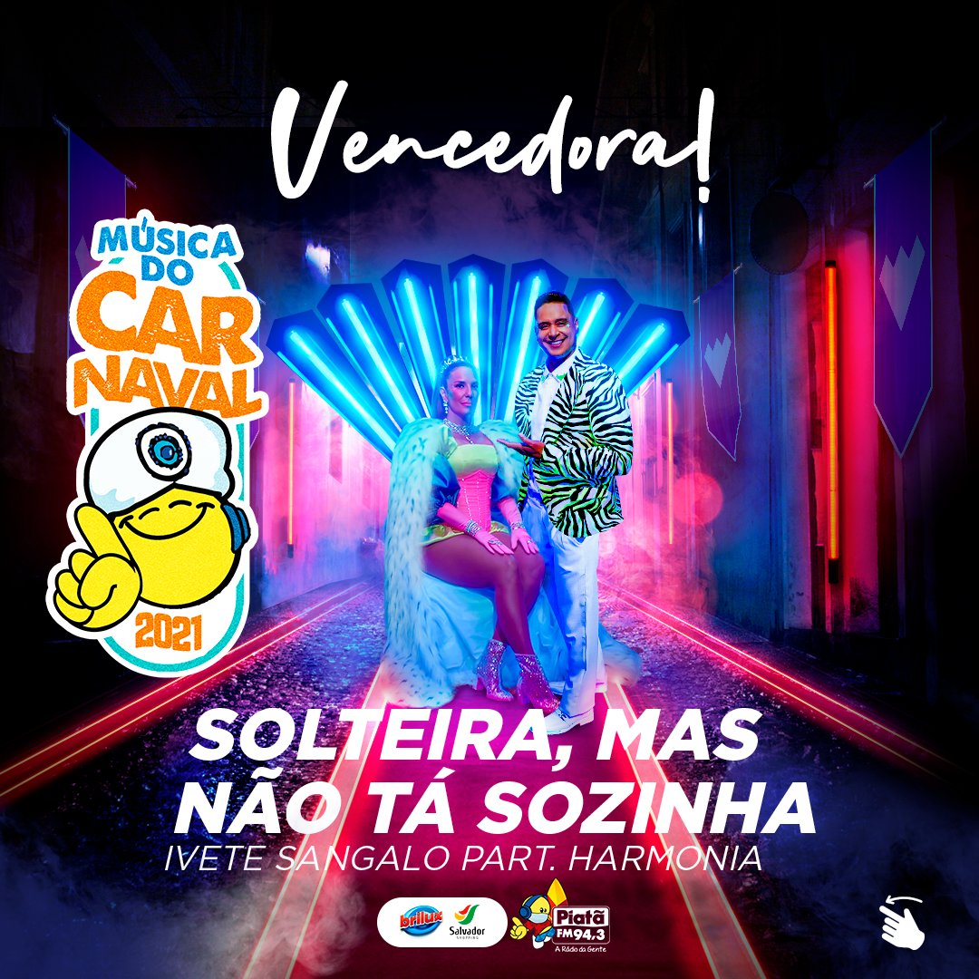 """LÁ VEM ELA! A música do Carnaval (dentro de casa) com mais de 68% foi """"Tá Solteira Mas Não Tá Sozinha"""" de @IveteSangalo e @Xanddy (@HarmoniaDoSamba)!📻🎉 ⠀ #Carnaval #Música #MúsicaDoCarnaval #Carnaval2021 #TáSolteiraMasNãoTáSozinha #IveteSangalo #HarmoniaDoSamba @XanddyHarmonia"""