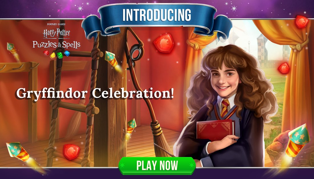 Daring, nerve and chivalry define the brave at heart. Participate in #GryffindorCelebration by collecting Red Gems inside Player Journey puzzles.  Play Gryffindor Celebration NOW ➡️   #HarryPotterPuzzlesAndSpells #Match3 #Gryffindor #HermioneGranger