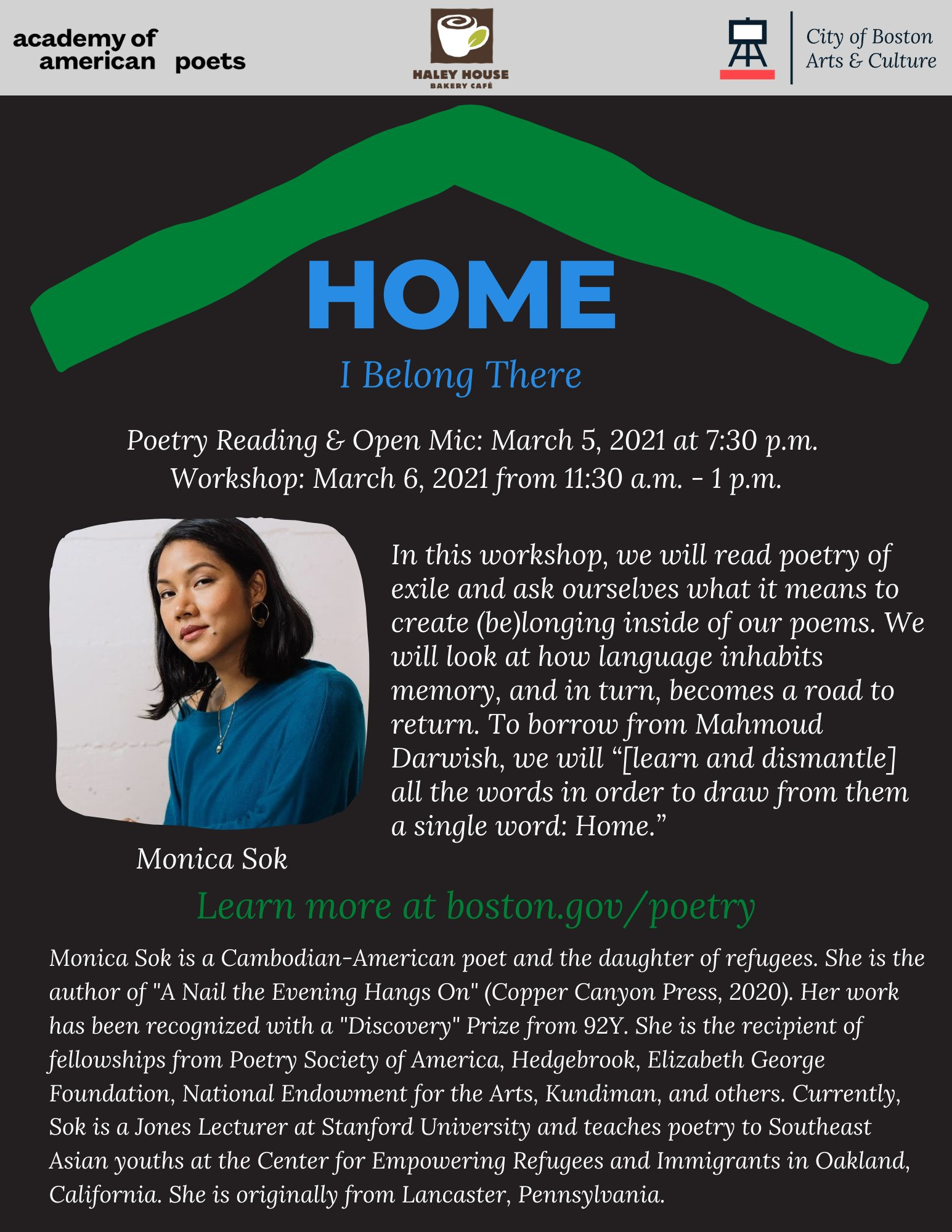 Mayor's Office of Arts & Culture Boston: HOME Poetry reading March 5-6