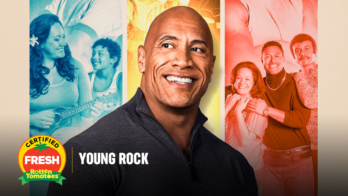 .@TheRock's new NBC series #YoungRock is officially #CertifiedFresh at 91% on the #Tomatometer, with 23 reviews:
