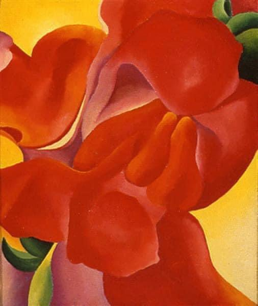 "ARTIST OF THE DAY: Georgia O'Keeffe (1887-1986). American. 'Red Canna,' 1923.  Famous quote: ""I've been absolutely terrified every moment of my life and I've never let it keep me from doing a single thing that I wanted to do."" ..."