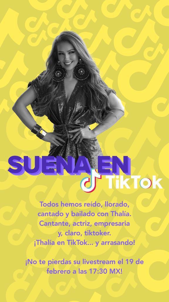 ¡Acompáñame en mi Livestream en @tiktok_us! Viernes, 19 de febrero 17:30 MEXICO / 18:30 NY (EST) 20:30 ARGENTINA ➡️