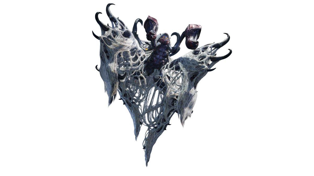 【妃蜘蛛 ヤツカダキ】 全身に糸を巻き付けた白無垢のような姿が特徴的。 糸を使ってハンターの動きを封じ、燃焼させたガスを吐いて攻撃を仕掛けてくる。 引き連れている幼体「ツケヒバキ」は移動をサポートしたり、獲物を捕えたりするので連携に要注意だ。   capcom.co.jp/monsterhunter/… #モンハンライズ