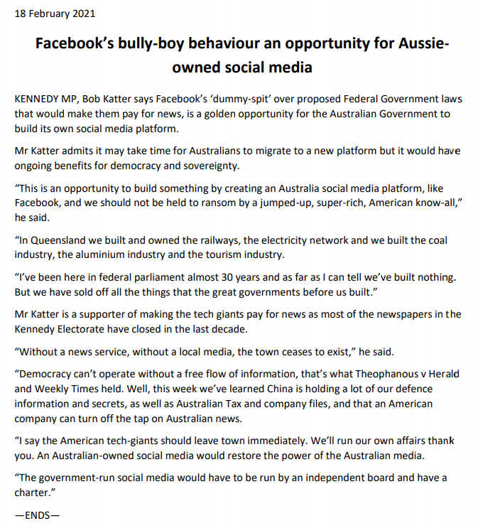 Meanwhile: Bob Katter thinks the govt should make its own social media platform to really stick it up the yanks!