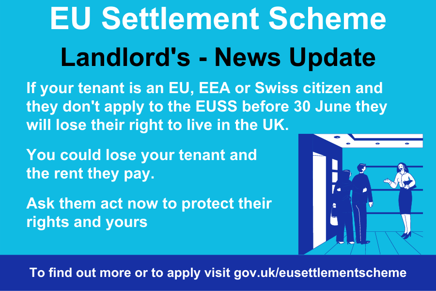 Are you a Landlord? Is your tenant an EU, EEA or Swiss national? Did you know they won't be able to live in the UK after 30 June if they haven't applied to the EU Settlement Scheme? Find out more at orlo.uk/oMkSi #ProtectYourRights