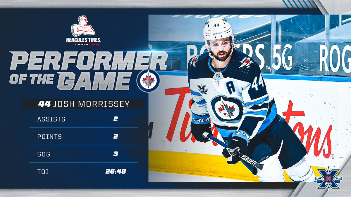 With two points and 26:48 minutes of ice time tonight, Josh Morrissey is the @HerculesTires Performer of the Game!