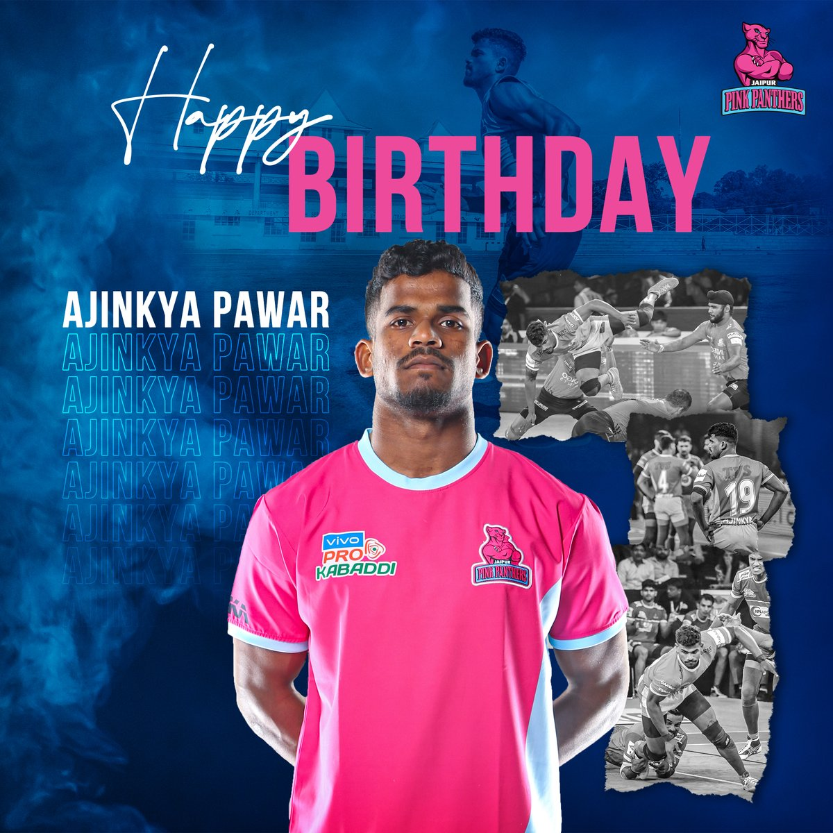 Wishing you a day filled with happiness and a year filled with joy. Have a wonderful time and a very happy birthday Ajinkya Pawar! 🎂  #HappyBirthday #PantherSquad #JaiHanuman #TopCats #JaipurPinkPanthers #JPP #Jaipur #vivoprokabaddi