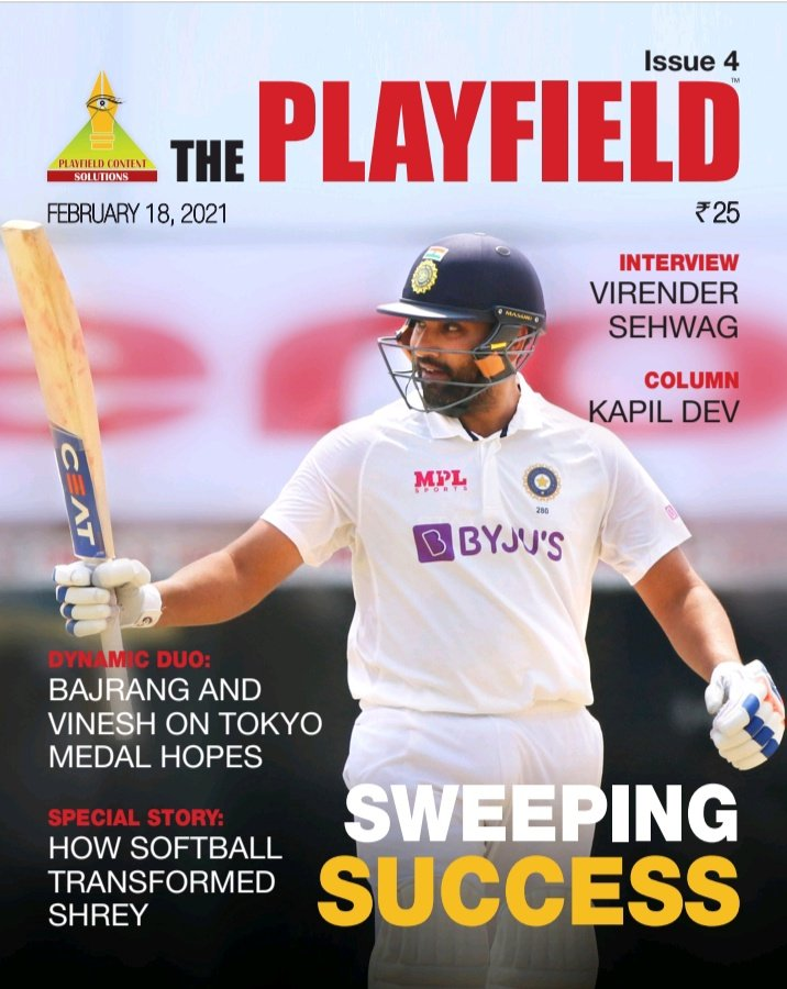 Our latest edition is out! @kausheek68 on comeback kings @ImRo45 and @ashwinravi99 ... @vijaylokapally talks to @virendersehwag plus the big @therealkapildev column on #Teamindia fast bowlers. Please subscribe now by paying Rs100 for 4 editions to our UPI I'd: Playfield@fbl