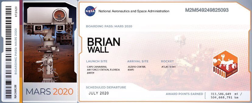 My mummy has just shown me my grandads ticket for #Mars he passed away a few years ago! our names are going on an amazing trip together @NASA #Rover #CountdownToMars #Keepinghismemoryalive our names are on a microchip aboard Rover