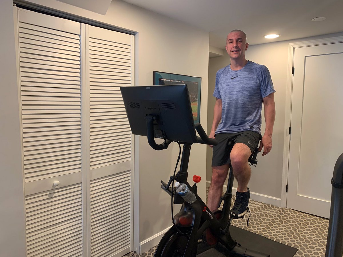 .@onepeloton meet my brother @parkins_brad. He was diagnosed with glioblastoma in June. 1 brain surgery, 6 weeks radiation & 6 chemo cycles later he's beating his pre diagnosis times!  He credits his Peloton (Respect_Journey) & family as his motivation to being active & healthy