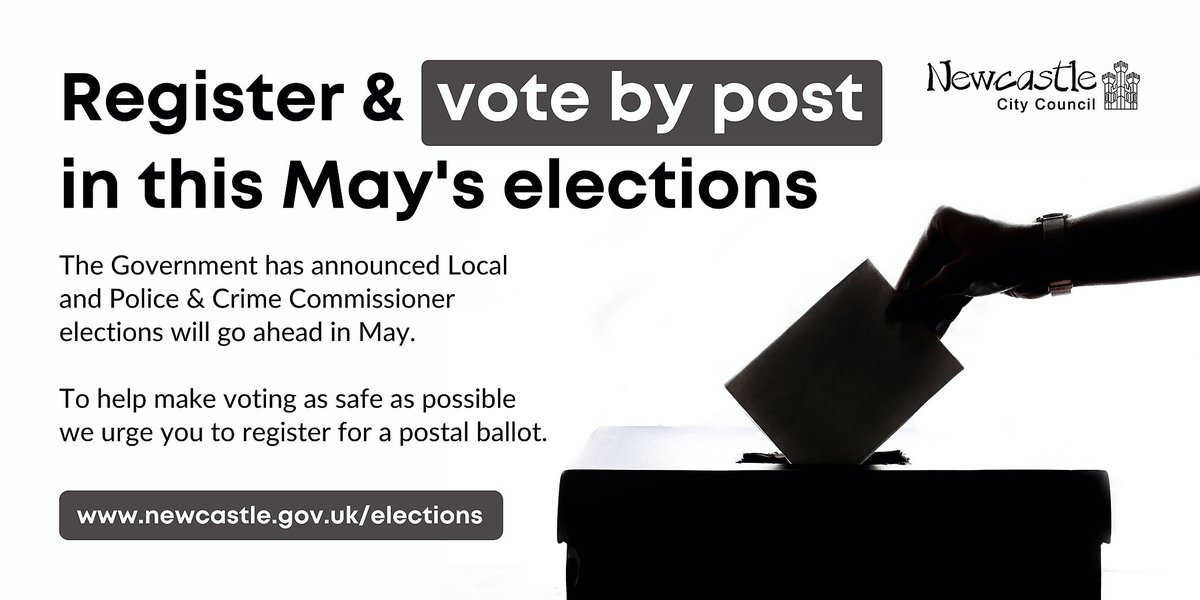 The #LocalElections will go ahead in #Newcastle this May & preparations are on track to allow that in a #Covid secure way - But you can also help keep people safe by registering to #vote by post. Find out more at orlo.uk/tukfu #YourVoteMatters #GetReadyToVote