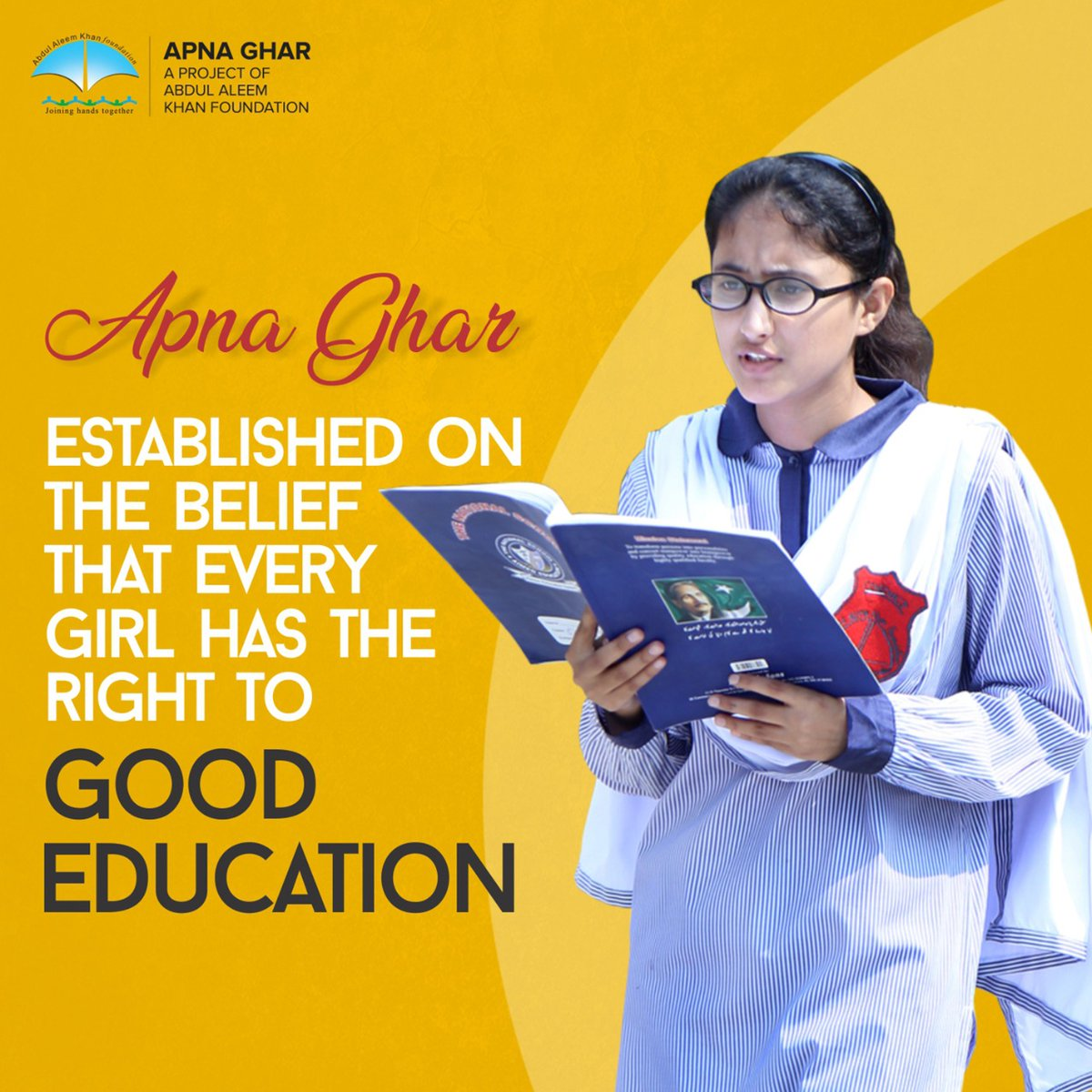 Every daughter has the right to a good education and a happy life. In this regard, the Abdul Aleem Khan Foundation is playing a significant role in providing education and other necessities of life to helpless and needy girls.  #AAK_Foundation  #ApnaGhar