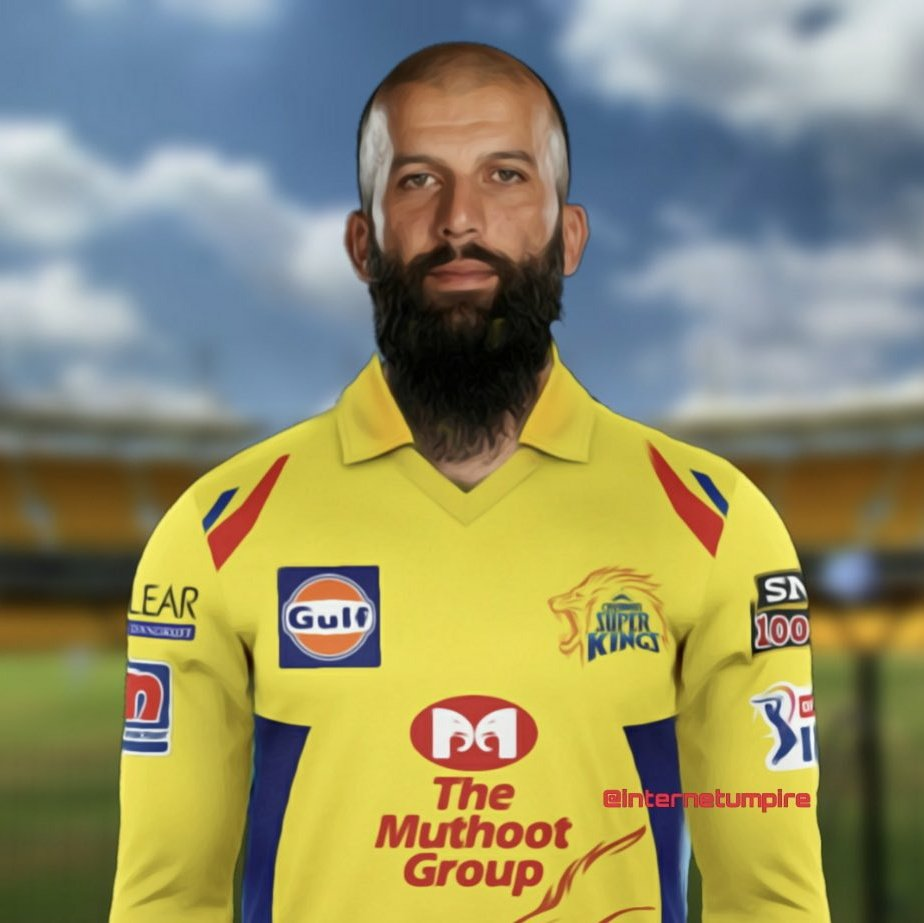 Moeen Ali of CSK Wearing Jersey With SNJ 1000 Logo -Twitter