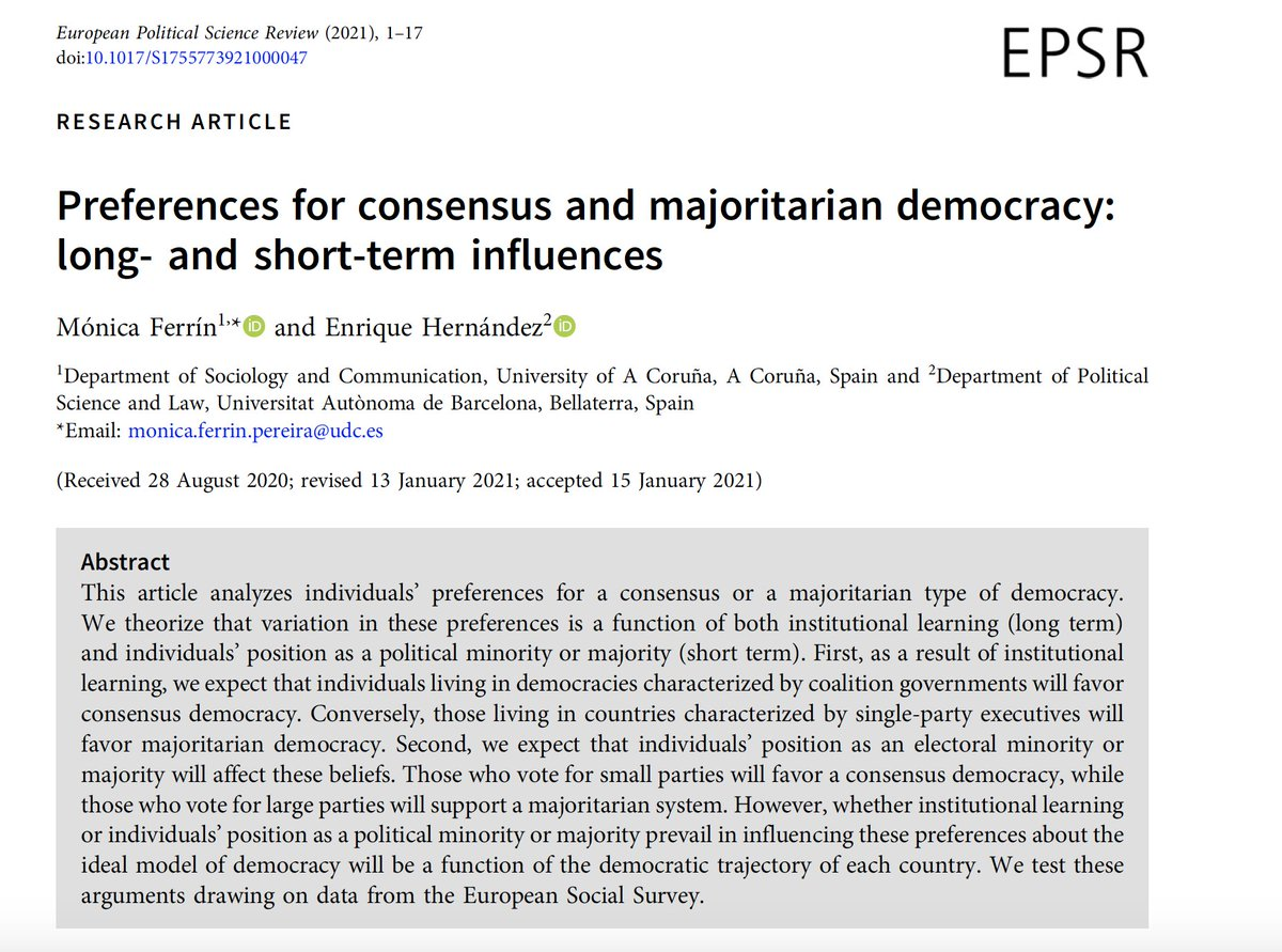 New paper with Mónica Ferrín published in @EPSRjournal. Using @ESS_Survey data we analyze Europeans' preferences for consensus and majoritarian democracy. cambridge.org/core/journals/… #polisciresearch