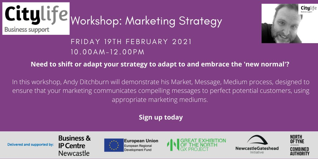 Calling all business owners - need to modify your marketing strategy to embrace the new normal? Then sign up to the Citylife Business Support Marketing Strategy workshop this Friday, hosted by Marketing & Branding expert Andy Ditchburn. Sign up today at orlo.uk/TboUc