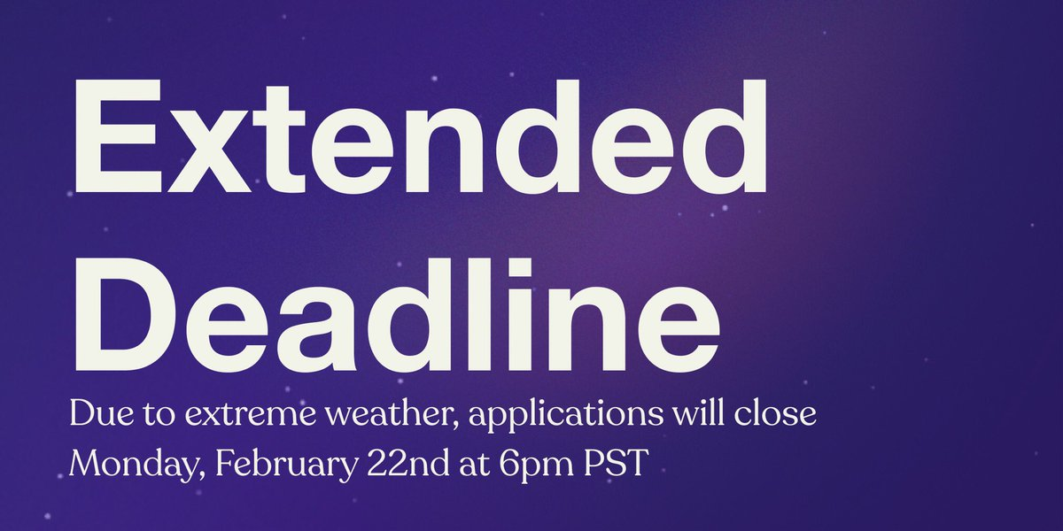 In light of the extreme weather events and power shortages, we are extending the #BlackAmbition deadline for applications to Monday, February 22nd at 6pm PST.  We hope everyone stays safe and healthy .•*