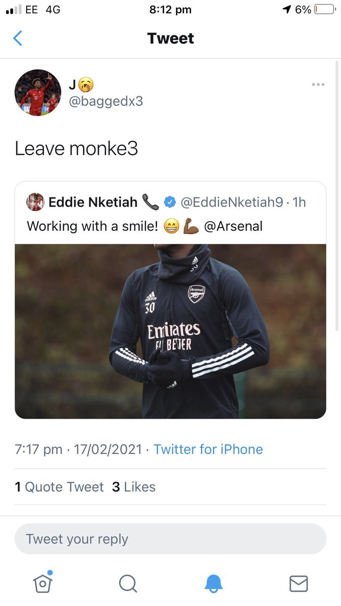 This idiots who decide to racially abuse players need naming and shaming. So here you go. Here's one of the fools who decided to racially abuse Nketiah. #KickItOut #Notoracism #Nketiah #UEL