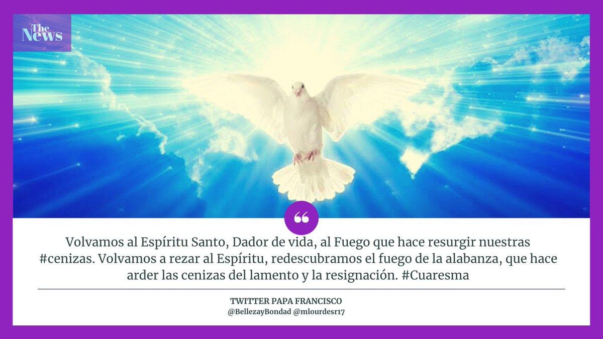 @Pontifex_es Volvamos al Espíritu Santo, Dador de vida, al Fuego que hace resurgir nuestras #cenizas. Volvamos a rezar al Espíritu, redescubramos el fuego de la alabanza, que hace arder las cenizas del lamento y la resignación. #Cuaresma