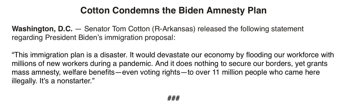 Sounds like Tom Cotton might be a no on the Biden immigration plan: