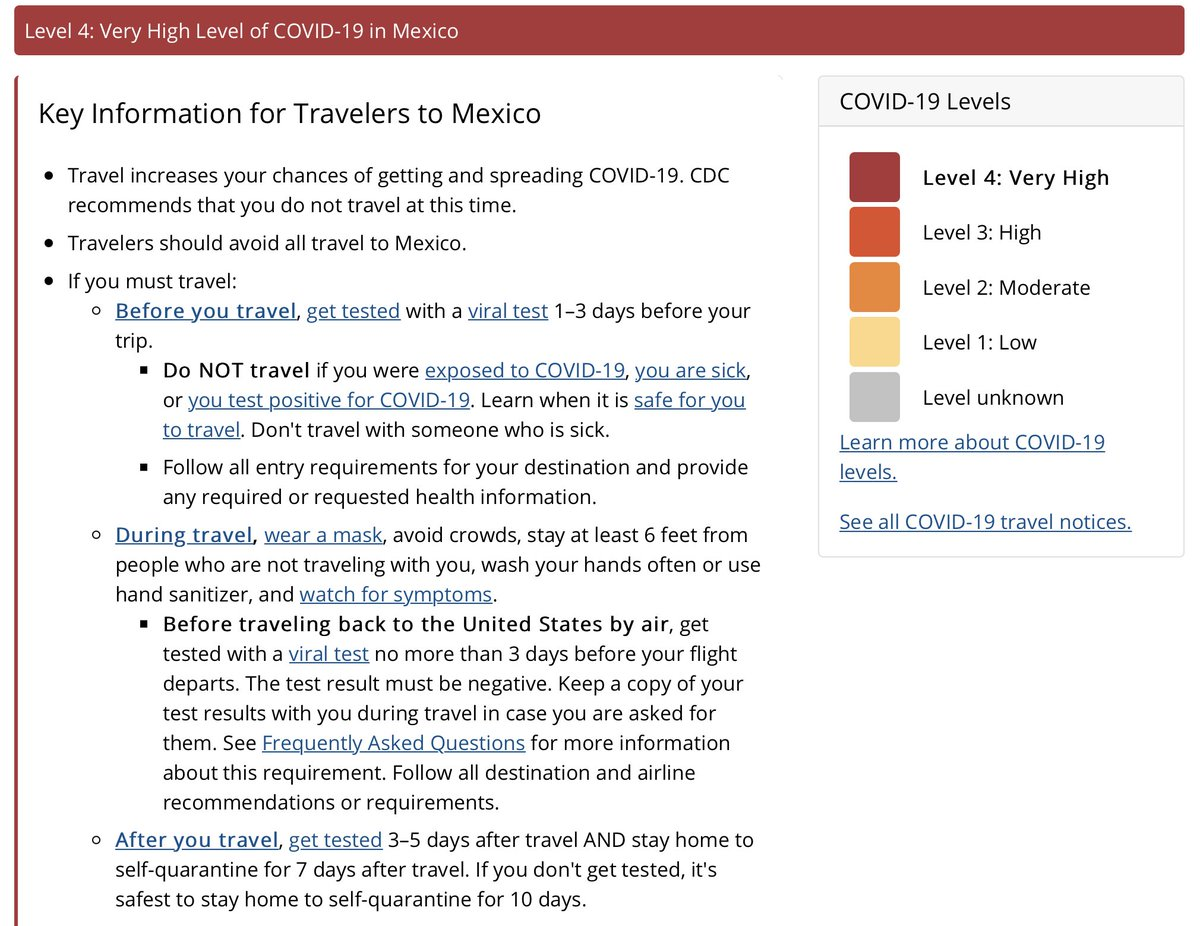 CDC guidelines for travel to Mexico: