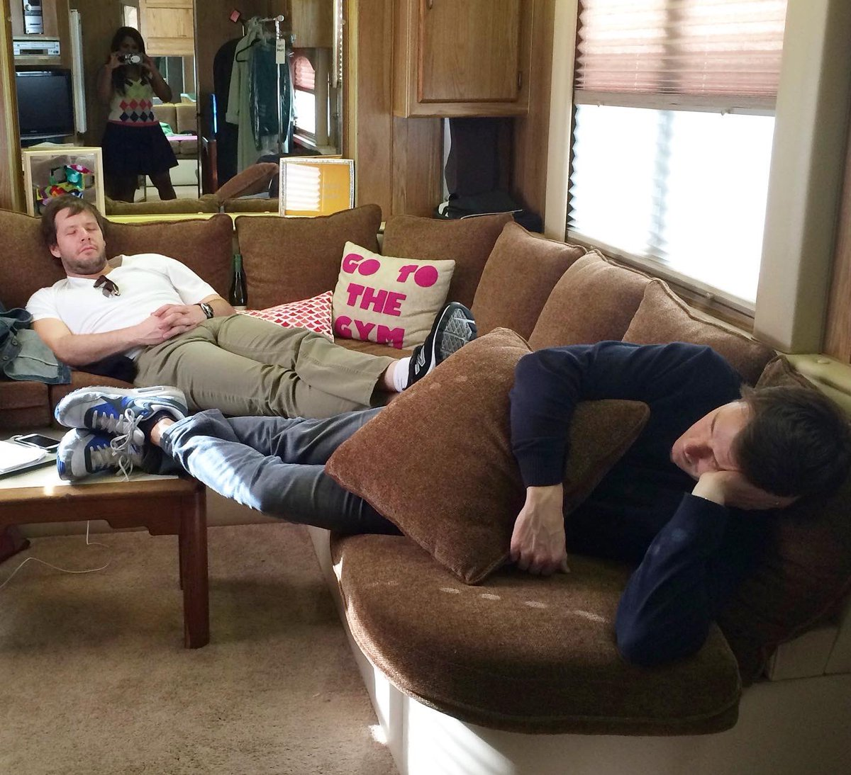 Happy birthday @ikebarinholtz. I love you. Here's a photo of you doing one of your favorite things; napping in a trailer after a heavy crew lunch near @davidstassen.