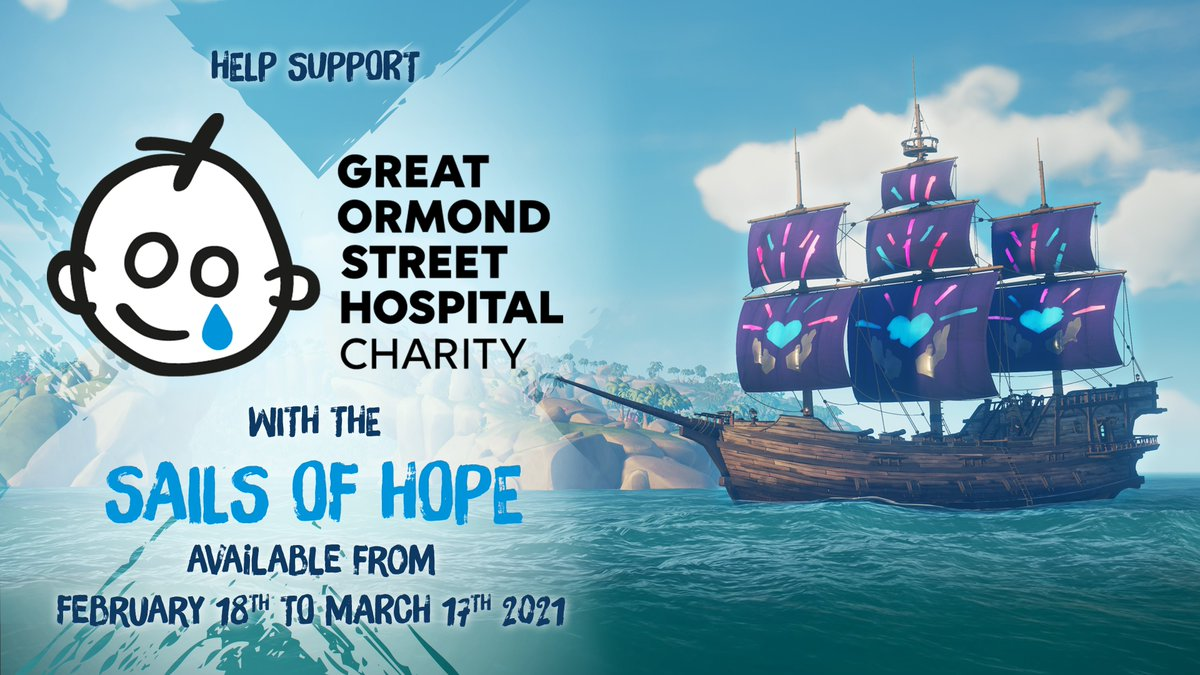 Calling all charitable corsairs! The Sails of Hope are now available from the Pirate Emporium, and all proceeds from sales of these sails go directly towards helping the @GOSHCharity crew's work to provide a better future for seriously ill children.