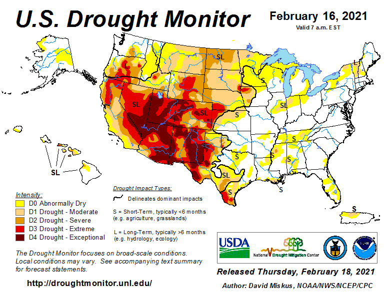 #DroughtMonitor 2/16: The #drought map is kind of frozen, just like temps in the USA. While widespread snow has led to some improvements, many soils under that snow are frozen and still extremely dry. #Drought2021's Footprint: 37.8% of the USA See drought.gov @NOAA