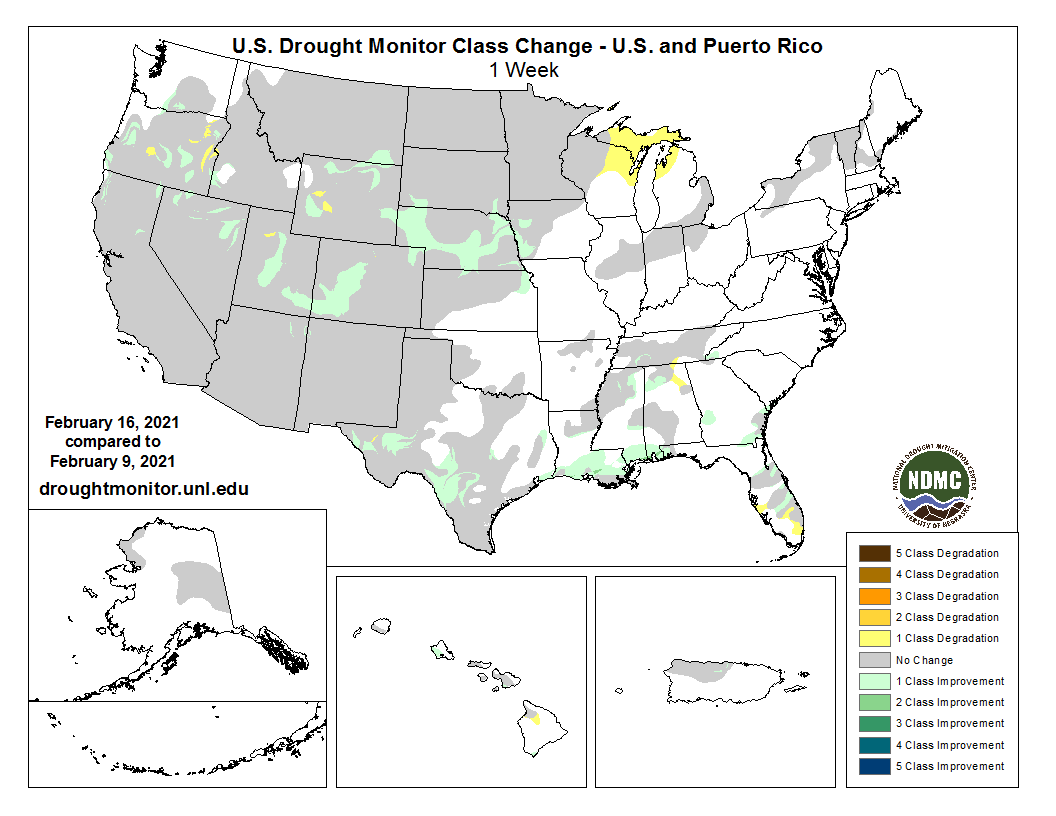 #DroughtMonitor 2/16: Enough snow fell in some areas in the West and Plains, like parts of CO and NE, to lead to scattered improvements in this week's change map. TX and the South/Southeast also saw reductions in #drought and dryness. See drought.gov @NOAA