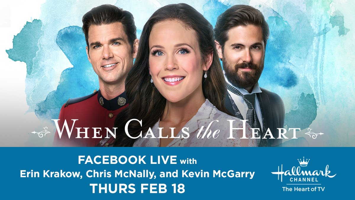 #Hearties, today is your lucky day! @erinkrakow, @ChrisMcNally_ and @kevin_mcGarry are going LIVE right here at 3:30PM EST to chat about the all new season of #WhenCallsTheHeart, premiering Sunday February 21 at 9/8c! Join them to get the inside scoop on everything to come!