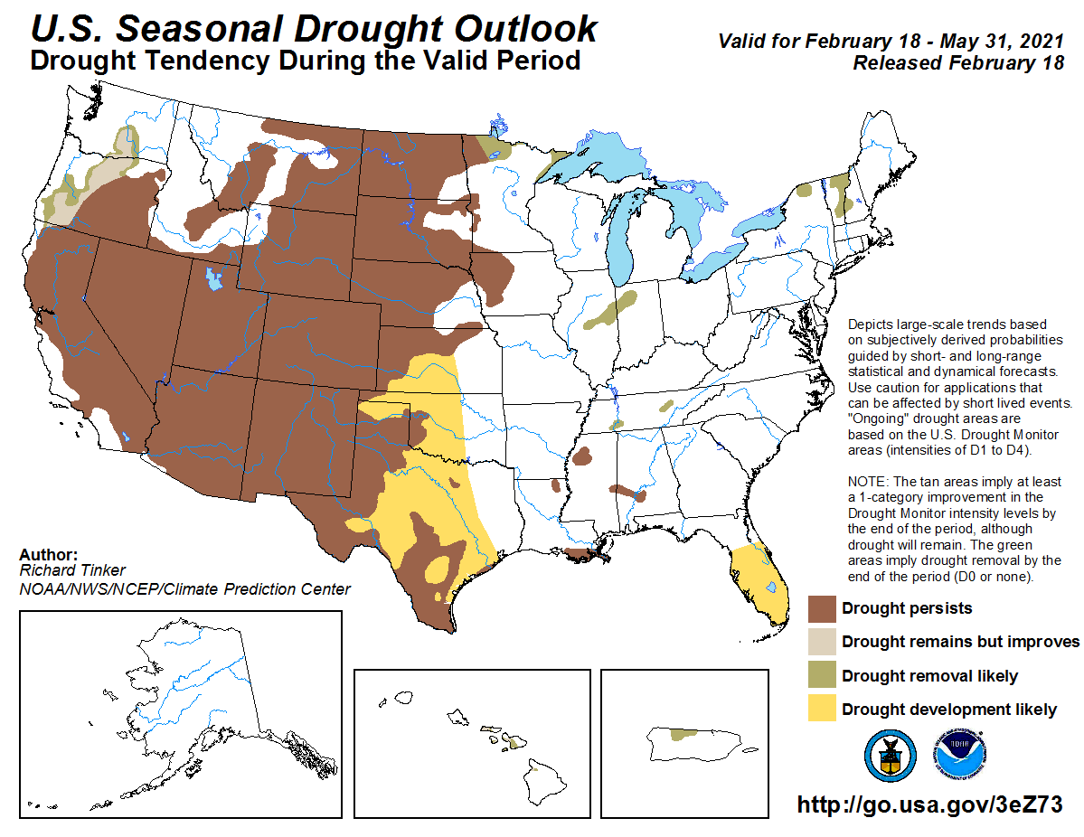 The latest Seasonal Outlook by @NOAAs @NWSCPC provides a longer view into spring. Big picture, that view doesn't show much changing. Much of the West and Plains stay in drought, with part of FL added. Improvements in the Northwest/Midwest/Northeast. cpc.ncep.noaa.gov/products/exper…