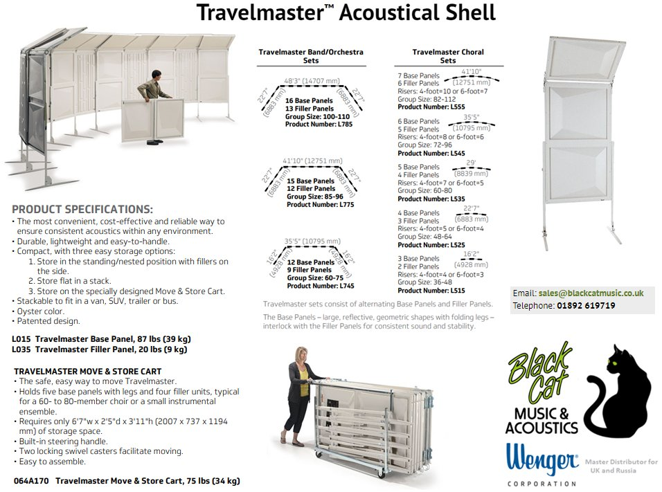 The Wenger Travelmaster acoustic shell is lightweight, easy to use, and folds down compactly - ideal for travelling choirs and touring bands/orchestras.  Available to buy online from Black Cat Music:   https://t.co/tnbErGwAl2 https://t.co/5dEicweSW7