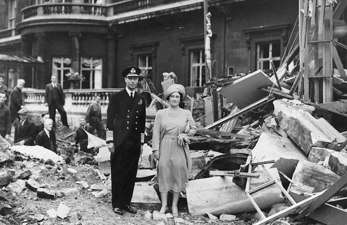 "Amid German bombing of Buckingham Palace in 1940, King and Queen did not flee their post for safety.  Queen said, ""I am glad we have been bombed.  It makes me feel I can look the East End in the face."" Leadership."