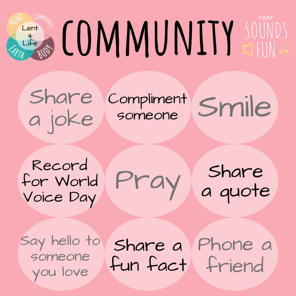 Lent-4-Life : COMMUNITY 🌸  This is something we have all missed greatly this past year. Celebrate your own communities with us using this bingo card for inspiration; share as you please and tag us!! Let's make our own That Sounds Fun community!! 🎵  #thatsoundsfun #lent4life