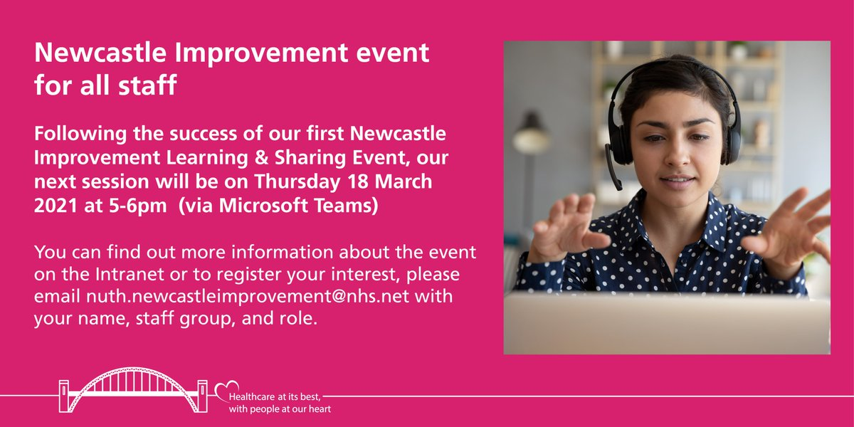 Following the success of Newcastle Improvements first Learning & Sharing event, we will be holding our next session on Thursday 18 March, 5-6pm. If you are interested in Quality Improvement & our Trustwide QI plans, please register your interest using the email below👇